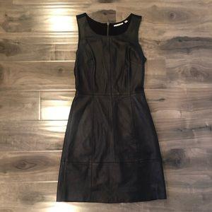 Halogen 100% leather dress exposed zipper